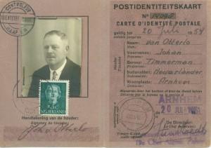 Identiteitsbewijs Johan van Otterlo