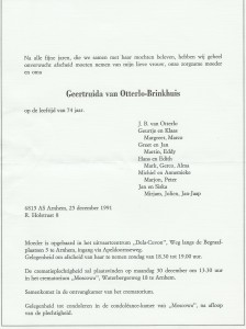 Rouwkaart Geertruida Brinkhuis