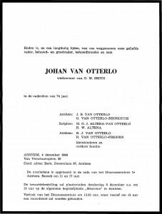 Rouwkaart Johan van Otterlo